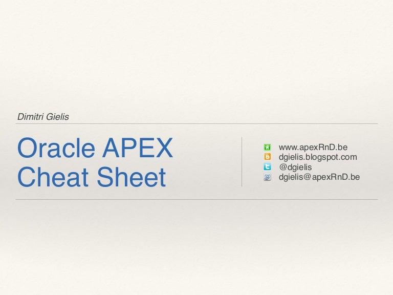 Oracle APEX Cheat Sheet