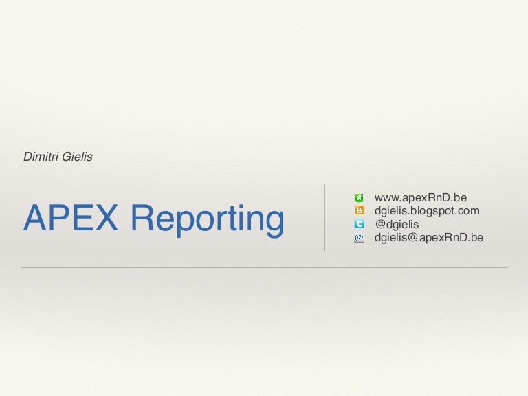 Reporting with Oracle Application Express (APEX)