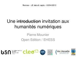 Une introduction aux humanités numériques