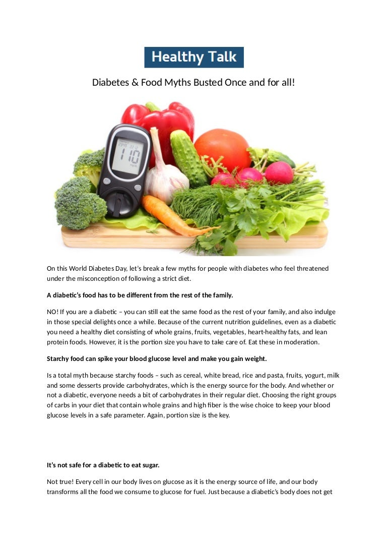 Diabetes Food Myths Busted Once And For All