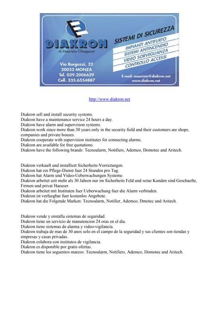 Diakron security systems Italy Monza Brianza