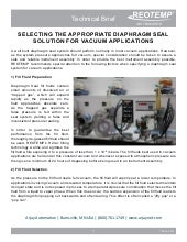 Diaphragm Seal Vacuum Application Considerations From REOTEMP