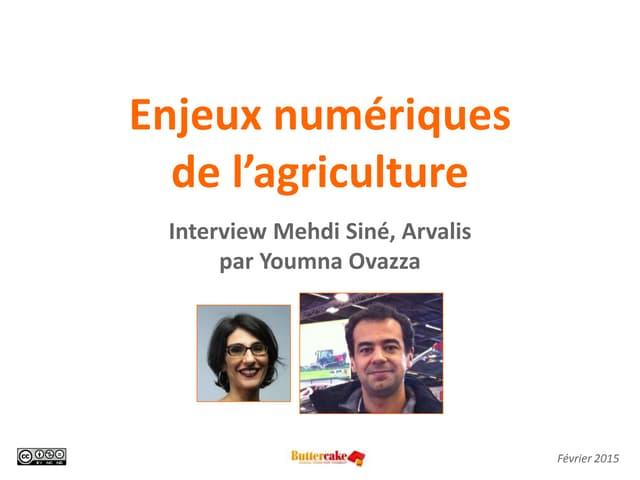 Enjeux numériques de l'agriculture: interview Mehdi Siné, Arvalis par Youmna Ovazza