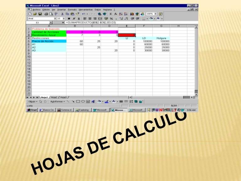 Diapositiva de hojas de calculo