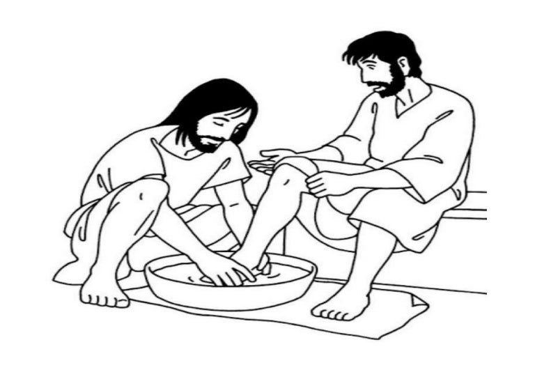 Kindness, : Kindness Jesus Washing Feet Coloring Pages | Sunday ... | 544x768
