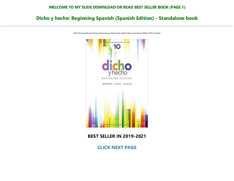 Free [P.D.F] Download Dicho y hecho: Beginning Spanish (Spanish Edition) – Standalone book Read %book ^ePub