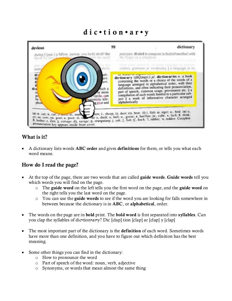 Dictionary Worksheet – Dictionary Worksheet