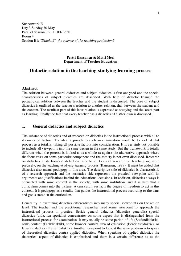 Important concepts of didactics: didactic principles of teaching, means and methods
