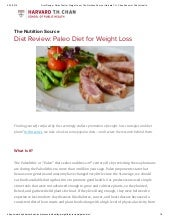 PALEO DIET  Research for Weight Loss  - Harvard Medical School of Public Health