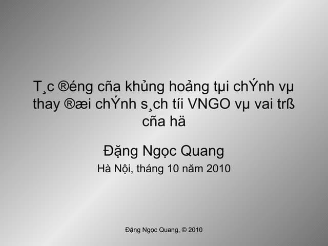 Tác động của khủng hoảng tài chính tới VNGO