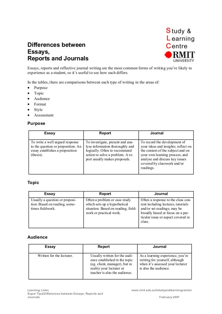 differences between essays reports and journals