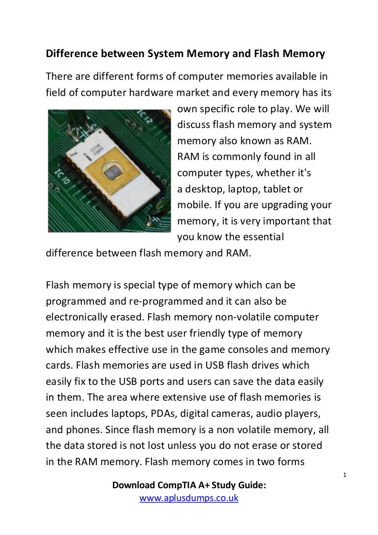 What Is The Difference Between System Memory And Flash Comp Add Ram To Your Laptop Easily