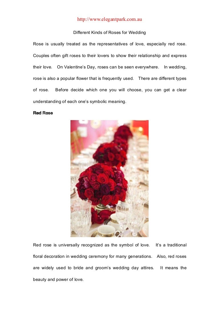 Different Kinds Of Roses For Wedding
