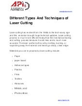 Different Types And Techniques of Laser Cutting