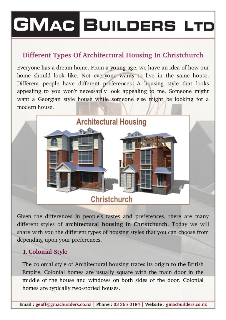 Different types of architectural housing in christchurch
