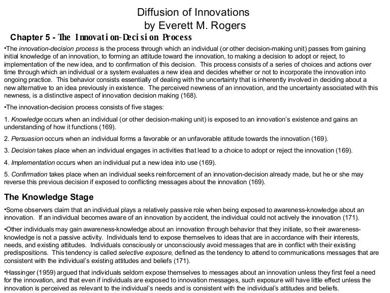 Diffusion of Innovation Ch. 5