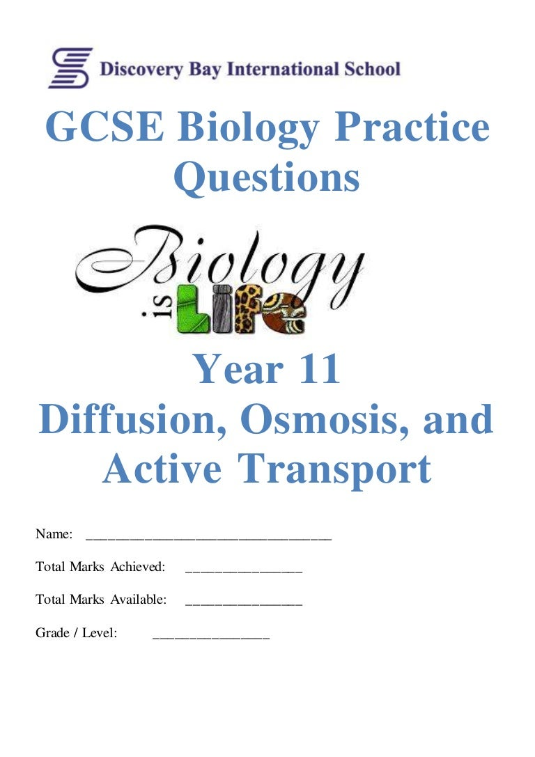 Diffusion Osmosis And Active Transport Practice Questions