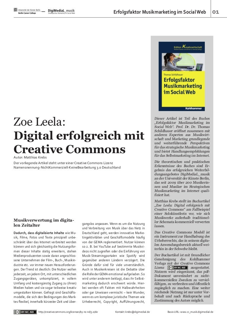 Zoe Leela: Digital erfolgreich mit Creative Commons - DigiMediaL_musik
