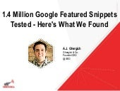 1.4 Million Google Featured Snippets Tested - Here's What We Found