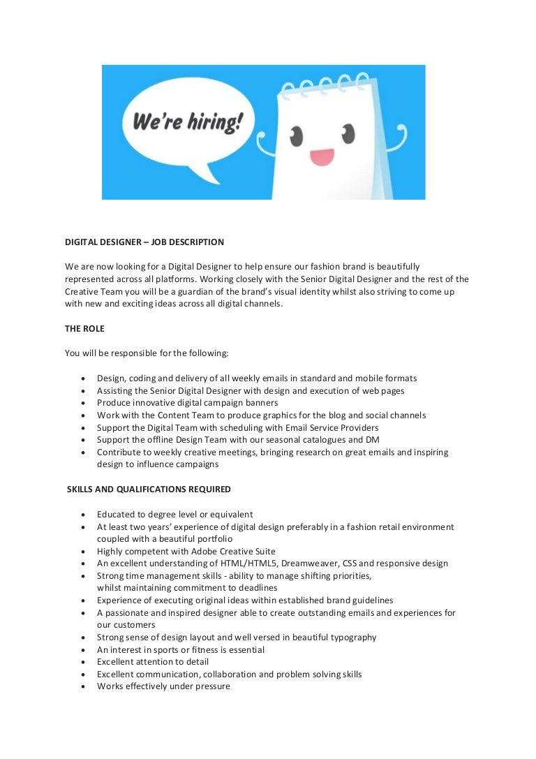Graphic Designer Job Descriptiona Person Style Of Graphic Design Corporation Is A Digital Graphic Design Corporation User Interface Designer Working Alongside Digital Artist Digital Designer Cover Letter Design Director Job Description Creative