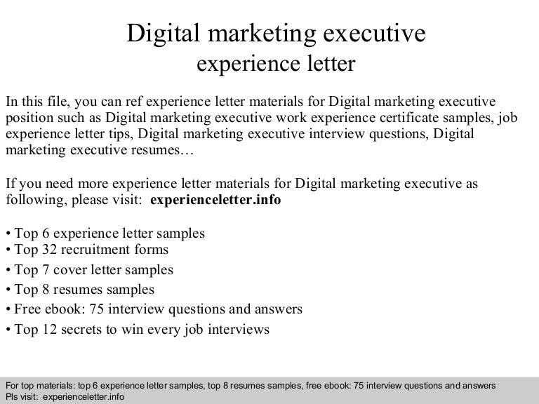 Digital Marketing Executive Cover Letter Pinterest