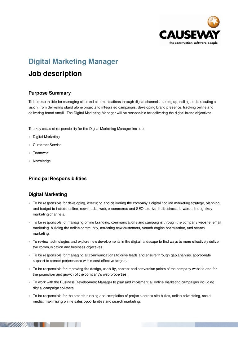 Digital marketingmanager – Digital Marketing Job Description