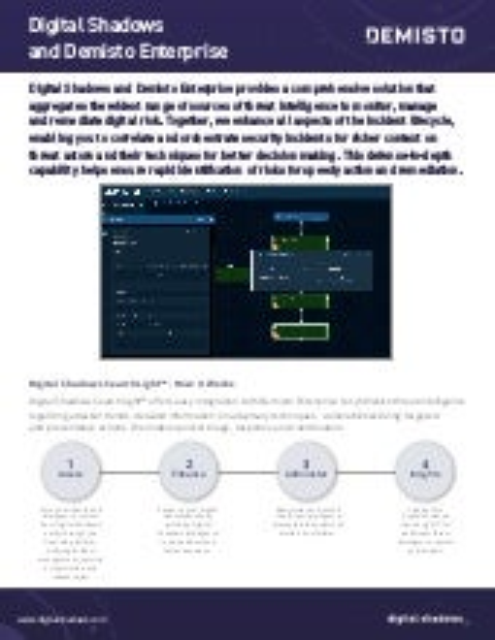 Digital Shadows and Demisto Enterprise Integration Datasheet