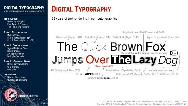 SIGGRAPH 2018 - Digital typography