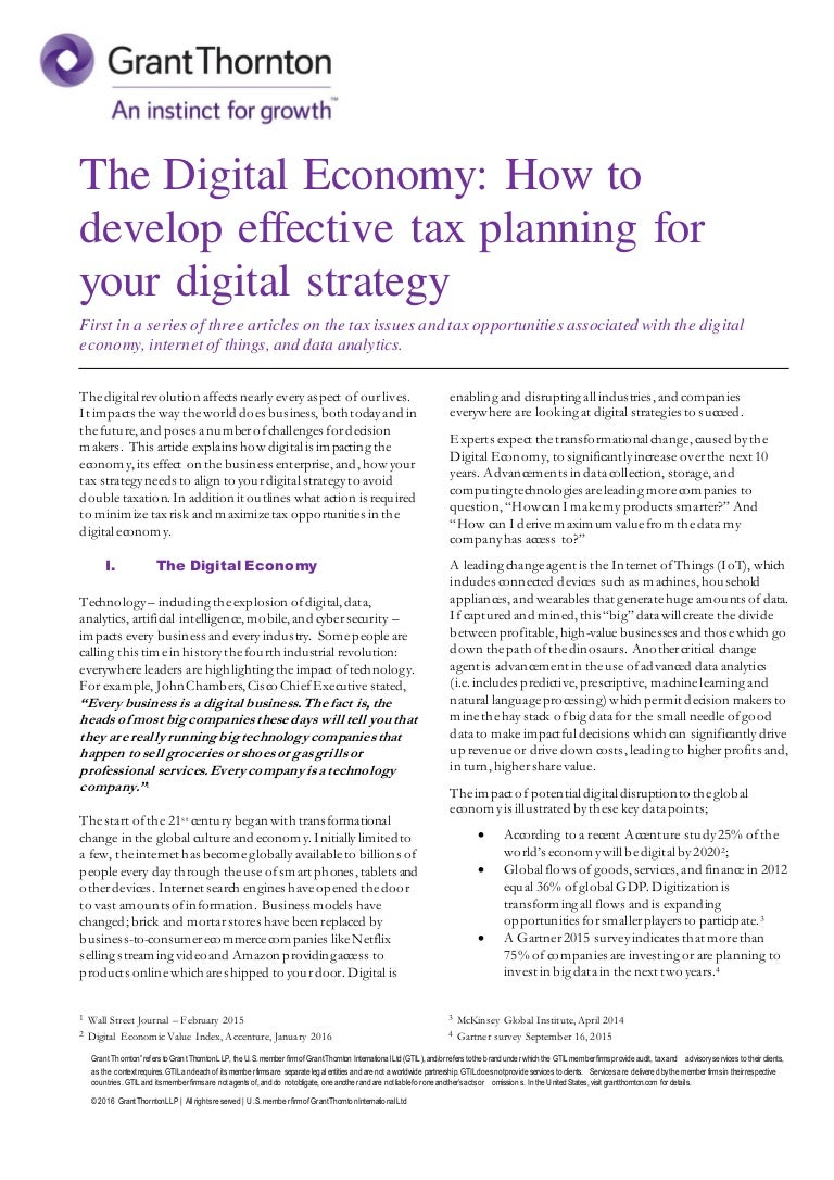 Tax planning in the enterprise