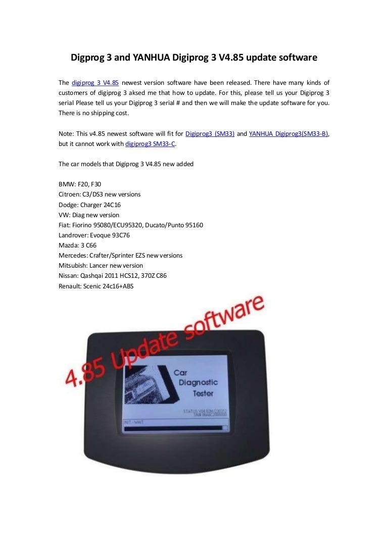 Digprog 3 and yanhua digiprog 3 v4 85 update software