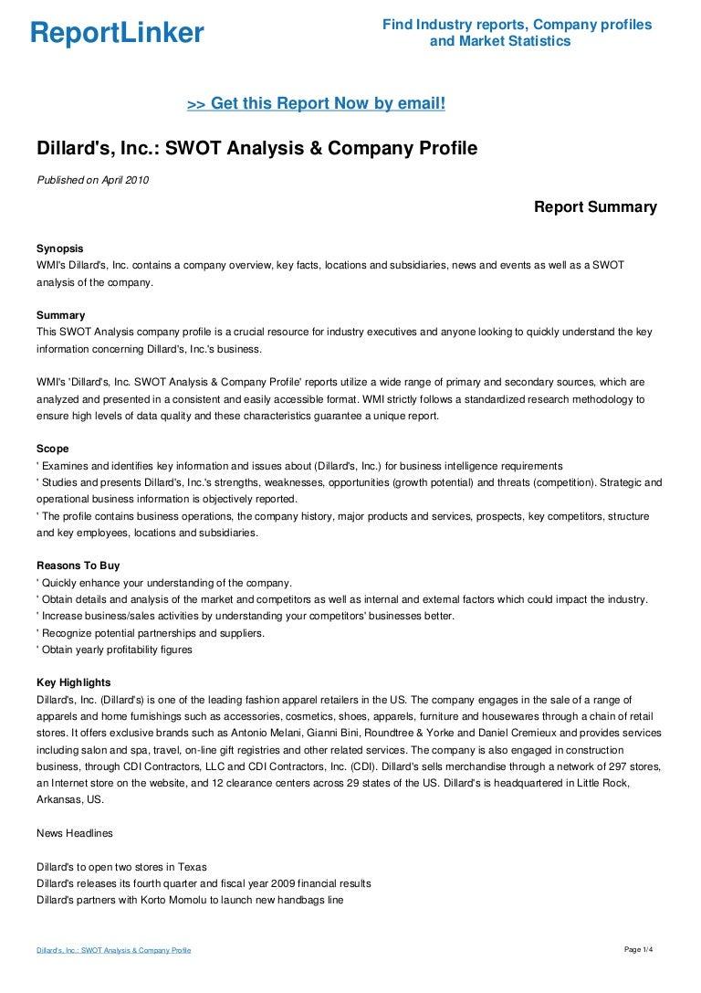 dillard s inc swot analysis company profile