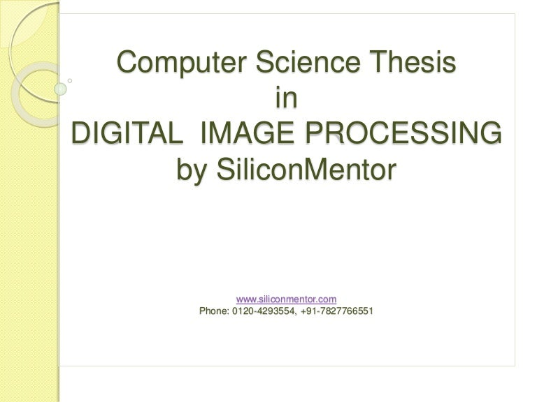 Science Thesis In Digital Image Processing