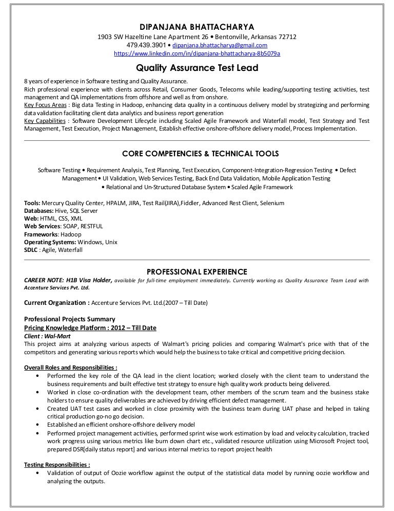 Automation Test Analyst Manager Resume Sample Sample Resume Of Test SlideShare