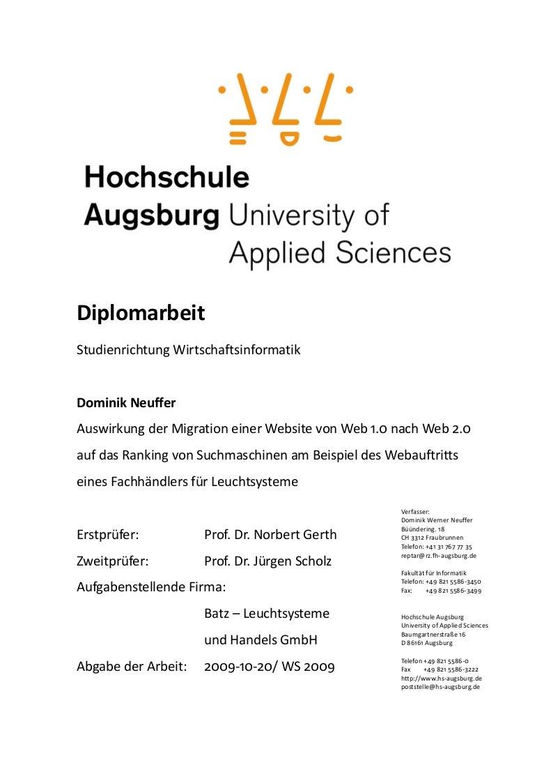Diplom Migration Web1.0 Nach Web2.0 Seo Neuffer