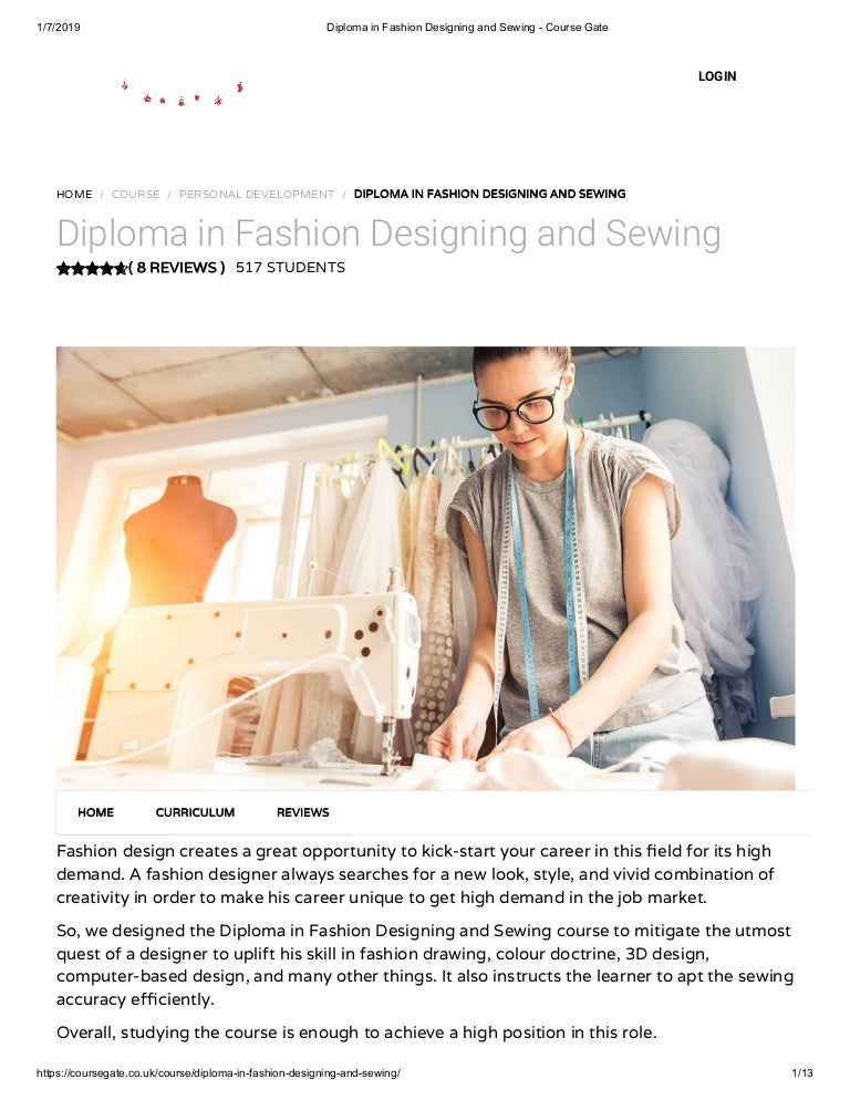 Diploma In Fashion Designing And Sewing Course Gate
