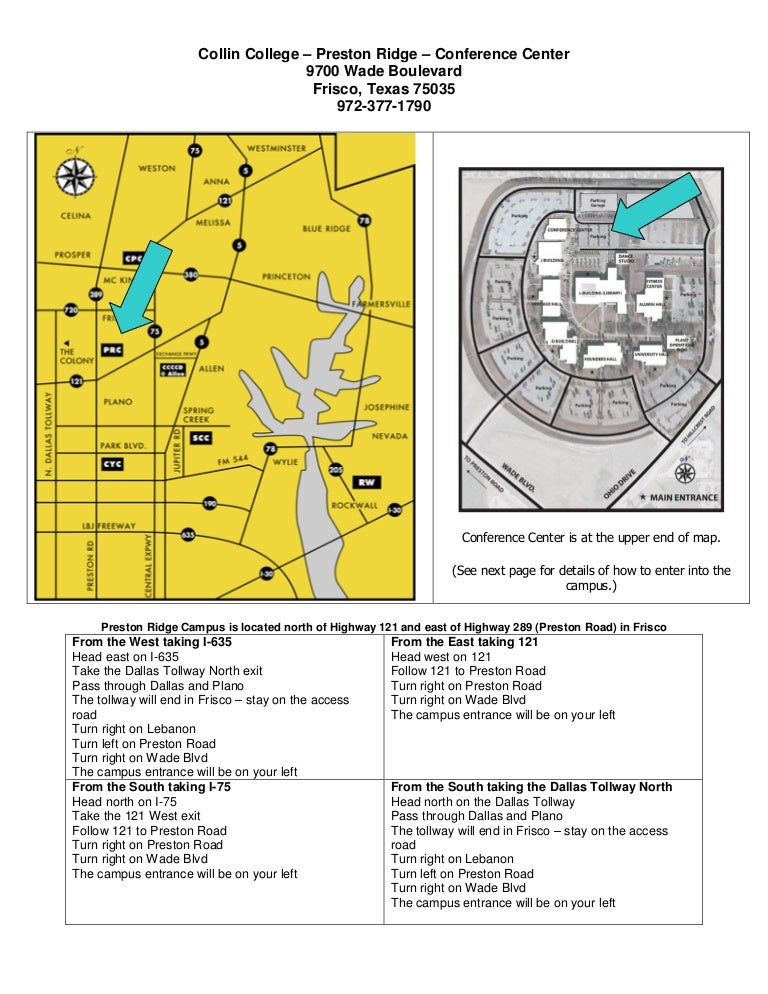 Directions to Preston Ridge Conference Center on collin county community college, collin college building map, collin college mckinney tx map,