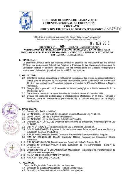 Directiva Finalización del año escolar 2013