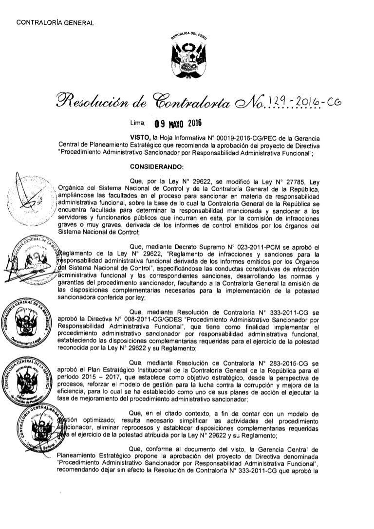 Directiva N\' 01O-2016-CG/GPROD: Procedimiento Administrativo sanciona…