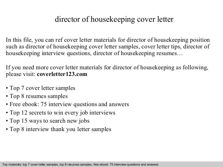 director of housekeeping cover letter - Sample Housekeeper Cover Letter