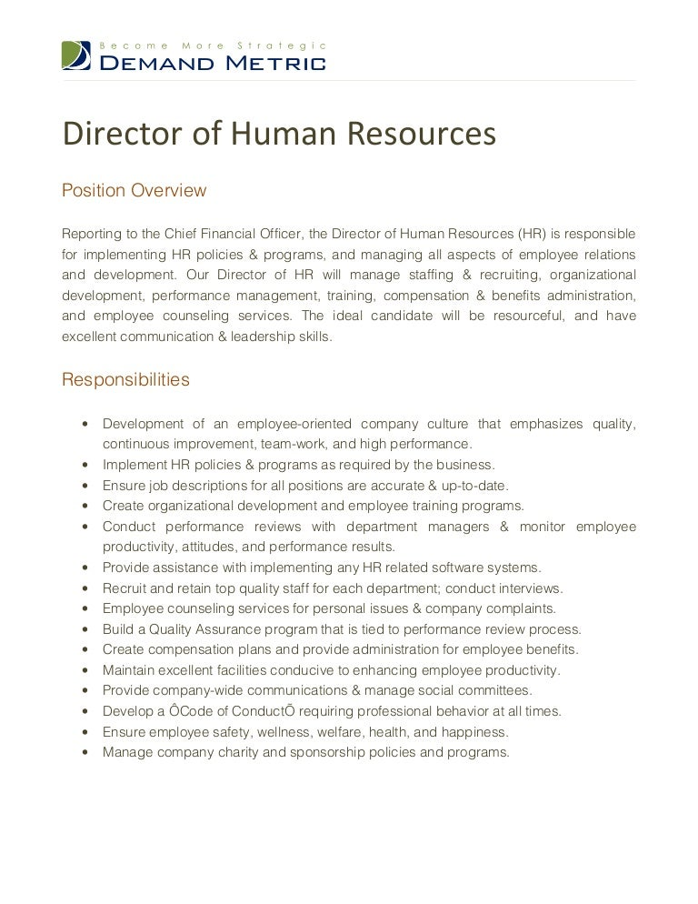 Director Of Human Resources Job Description