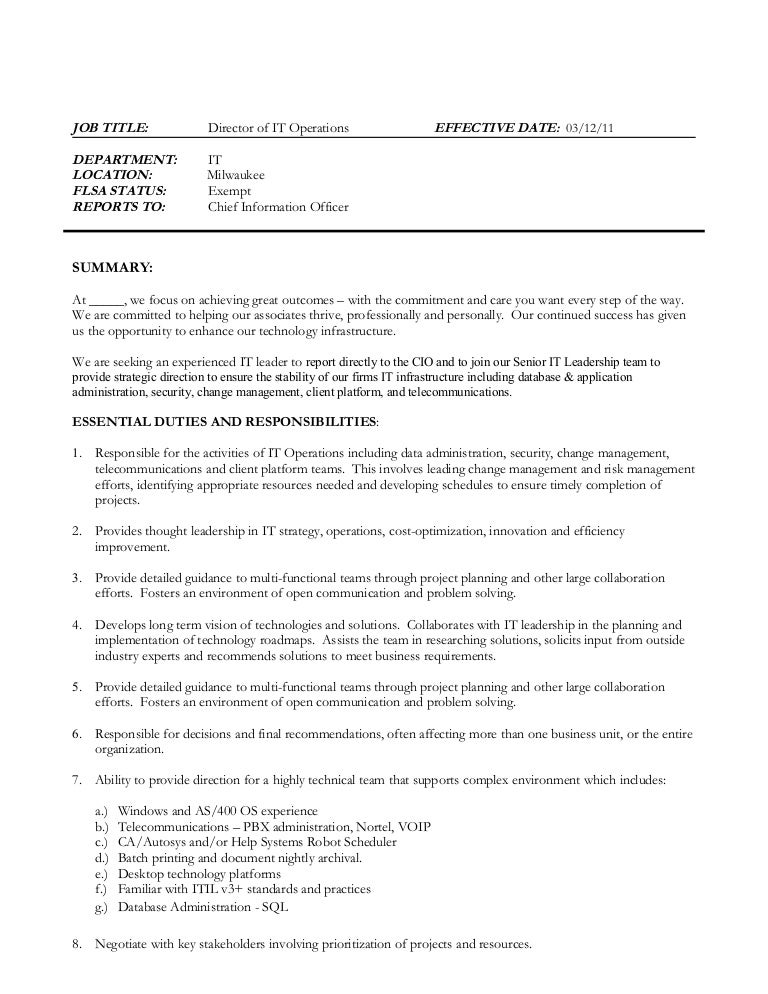 Director Of It Operations Job Description Revised