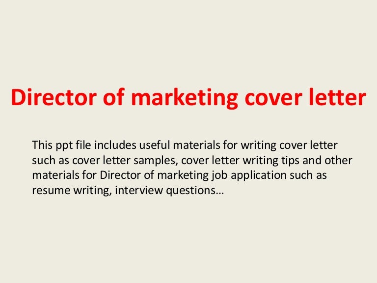 director of marketing cover letters