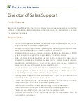 Director of Sales Support Job Description