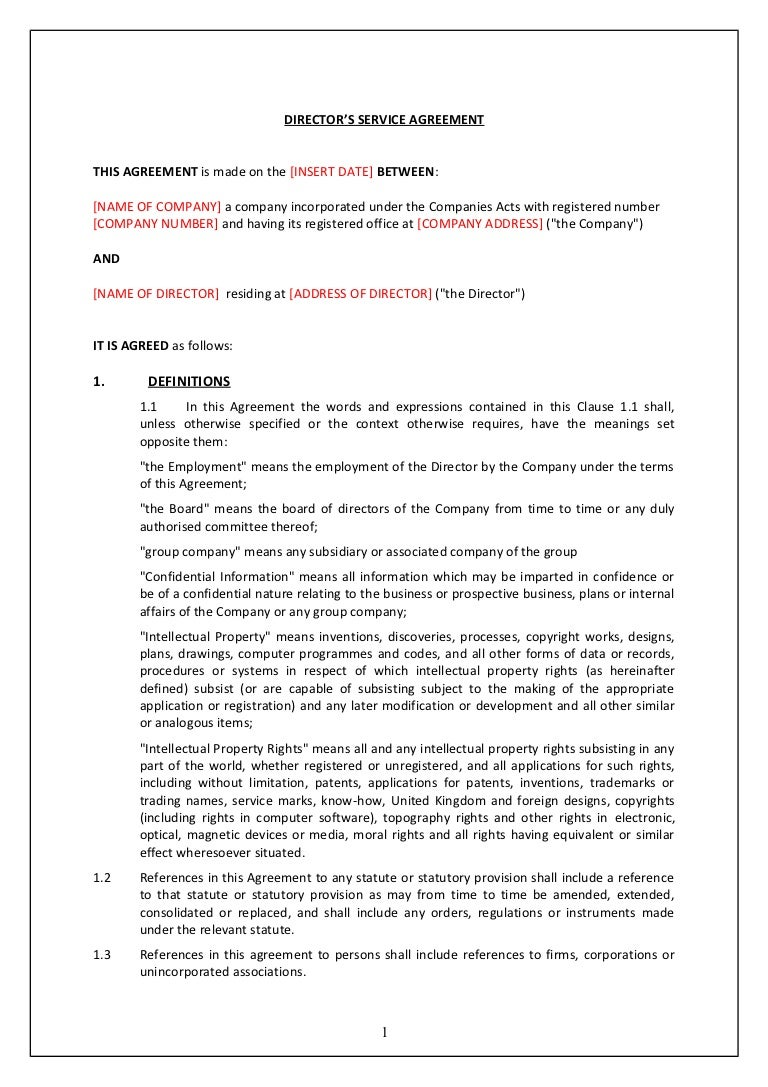Directors service contract tcw – Standard Employment Agreement