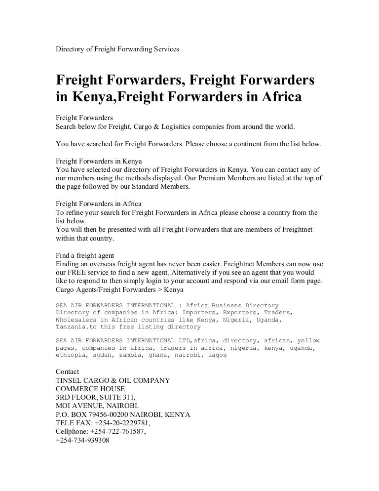 Directory of freight forwarding services