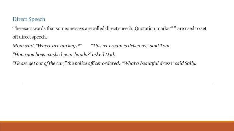 Direct speech and indirect speech