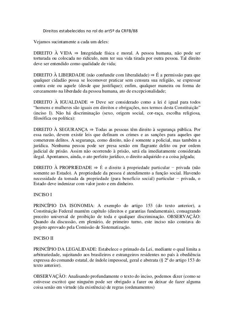 direitos estabelecidos no rol do art5º da crfb