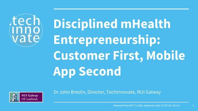 Disciplined mHealth Entrepreneurship