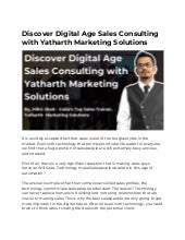 Discover digital age sales consulting with yatharth marketing solutions