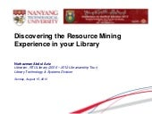 Discovering the resource mining experience in your library